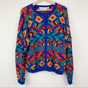 Vintage Knitted Cardigan Sweater XL Rainbow Button